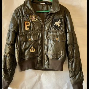 Military style puffer jacket with patched